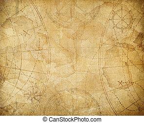 carte, trésor, fond, pirates, illustration