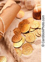 carte, trésor, pièces, doré