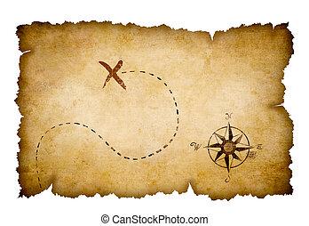 carte, trésor, pirates