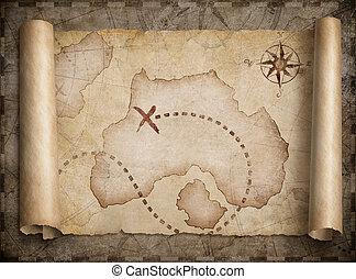carte, trésor, pirates, rouleau