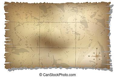 carte, trésor, vieilli, fond, compas