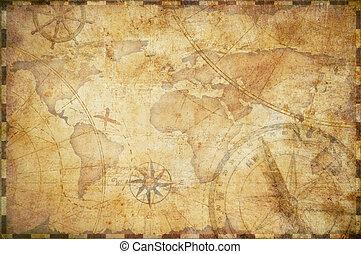 carte, trésor, vieux, fond, nautique