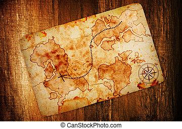carte, trésor, vieux