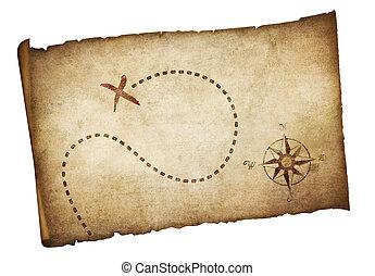 carte, trésor, vieux, pirates, isolé