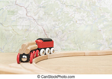carte, train, tourné