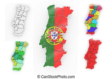 carte, tridimensionnel, portugal