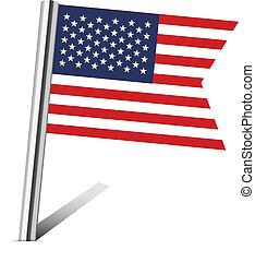 carte, uni, épingle, etats, drapeau, amérique