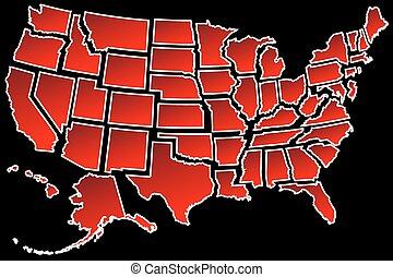 carte, uni, 50, nous, etats, frontières