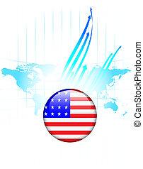 carte, uni, bouton, etats, drapeau, mondiale, amérique
