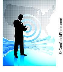 carte, uni, business, ordinateur portable, etats, homme