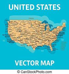 carte, uni, map., america., nous, élevé, detalizatio, etats, vecteur