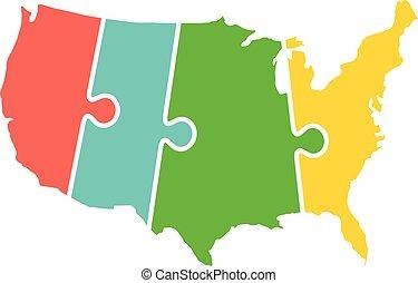 carte, uni, puzzle, zones, etats, temps