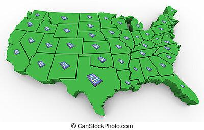 carte, uni, réseau, usa, cellule, illustration, etats, téléphone, appareil, nouveau, amérique, intelligent, 3d