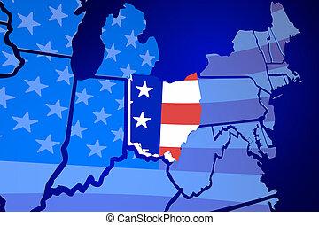 carte, uni, usa, état, illustration, etats, drapeau, ohio, amérique, 3d