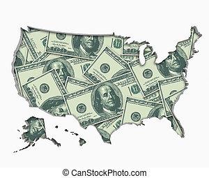 carte, uni, usa, argent, dollars, espèces, illustration, etats, économie, amérique, 3d
