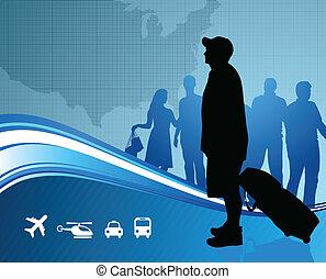 carte, uni, voyageurs, etats
