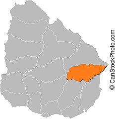 carte, uruguay, treinta, mis valeur, y, tres