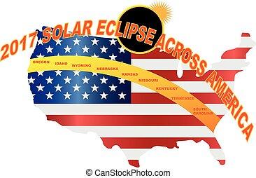 carte, usa, éclipse, illustration, solaire, 2017, total, travers