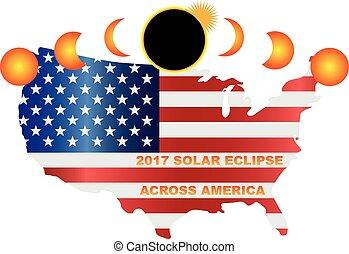 carte, usa, éclipse, illustration, solaire, 2017, travers