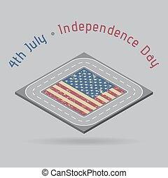 carte, usa, -, salutation, route, jour, indépendance
