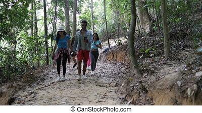 carte, usage, groupe, randonnée, gens, parcours, trekking, ...
