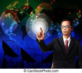 carte, usage, pointage, business, thème, globalisation, fond, mondiale, homme, télécommunication