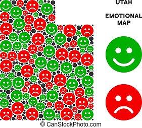 carte, utah etat, vecteur, emojis, composition, bonheur