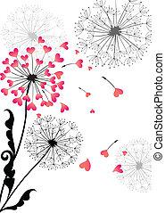 carte valentine, à, pissenlit