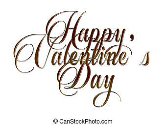 carte, valentine, heureux, jour, lettrage