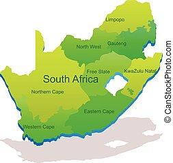 carte, vecteur, afrique, sud, 3d