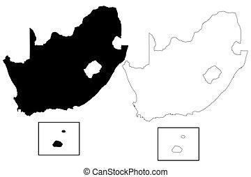 carte, vecteur, afrique, sud