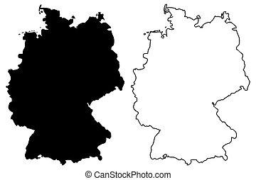 Carte Allemagne Noir Et Blanc.Carte Allemagne Contour Vector Carte Contour Isole
