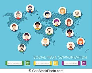carte, vecteur, avatars, mondiale, gens