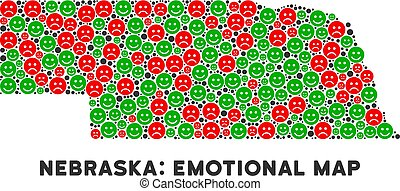 carte, vecteur, collage, état, nebraska, emojis, bonheur