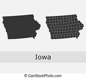 carte, vecteur, comtés, iowa