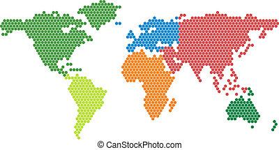 carte, vecteur, conti, coloré, mondiale