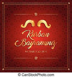 carte, vecteur, eid-al-adha, sacrifice, mubarak, islamique, bayrami, kurban, illustration, festival, salutation