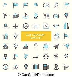 carte, vecteur, ensemble, emplacement, icônes
