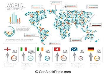 carte, vecteur, gens, illustration, infographics., infographic, humain, mondiale