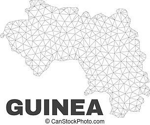 carte, vecteur, guinée, polygonal, maille, république