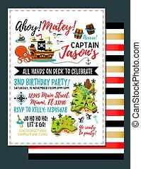 carte, vecteur, illustration., trésor, -, invitation., anniversaire, pirate