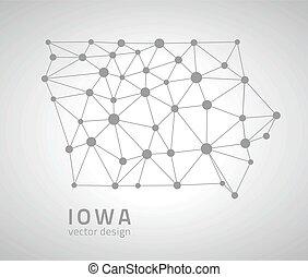 carte, vecteur, iowa, contour
