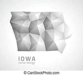 carte, vecteur, iowa gris