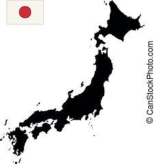 carte, vecteur, japon