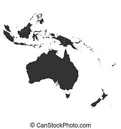 carte, vecteur, limites, océanie, illustration