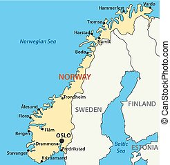 carte, vecteur, norvège