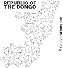 carte, vecteur, polygonal, maille, république, congo