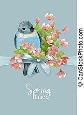 carte, vecteur, printemps, floral