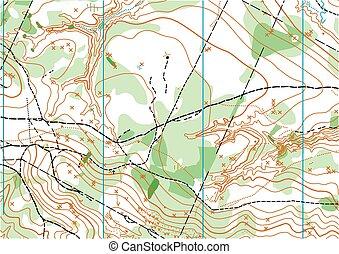 carte, vecteur, topographique