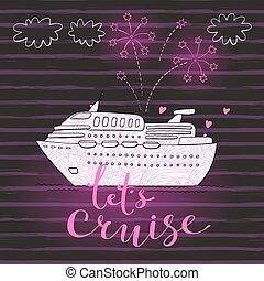 carte, vecteur, vacances, bateau, voyage, mignon, croisière, fireworks., lune miel, voyage, illustration, concept, travel.